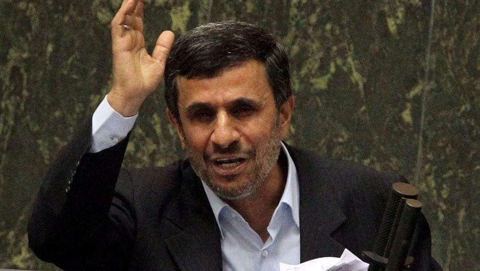 Iranian President Mahmoud Ahmadinejad in parliament in Tehnran last month.