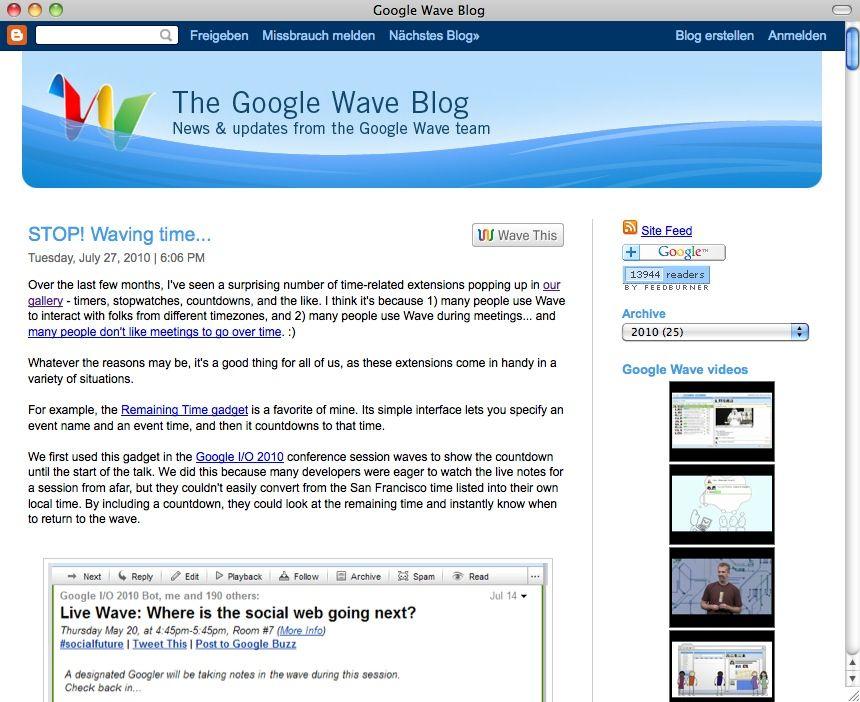 SCREENSHOT Google Wave / Blogg