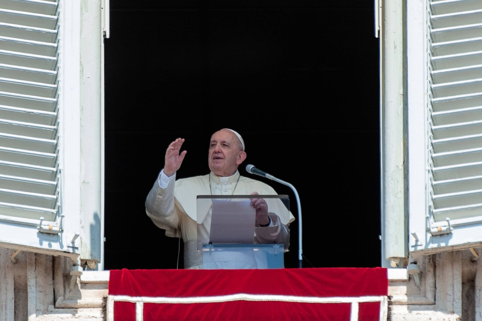 NO FRANCE - NO SWITZERLAND: August 15, 2020 : Pope Francis blesses during the Angelus noon prayer in the Assumption of