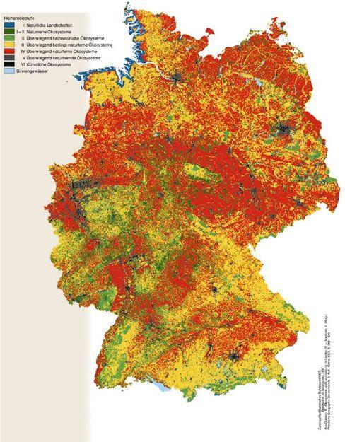 Hemerobiestufen: Die Karte Deutschlands macht deutlich, wie weit das ganze Land von einer natürlichen Vegetation entfernt ist. Nur an der Nordseeküste finden sich größere naturnahe Zonen (blau)