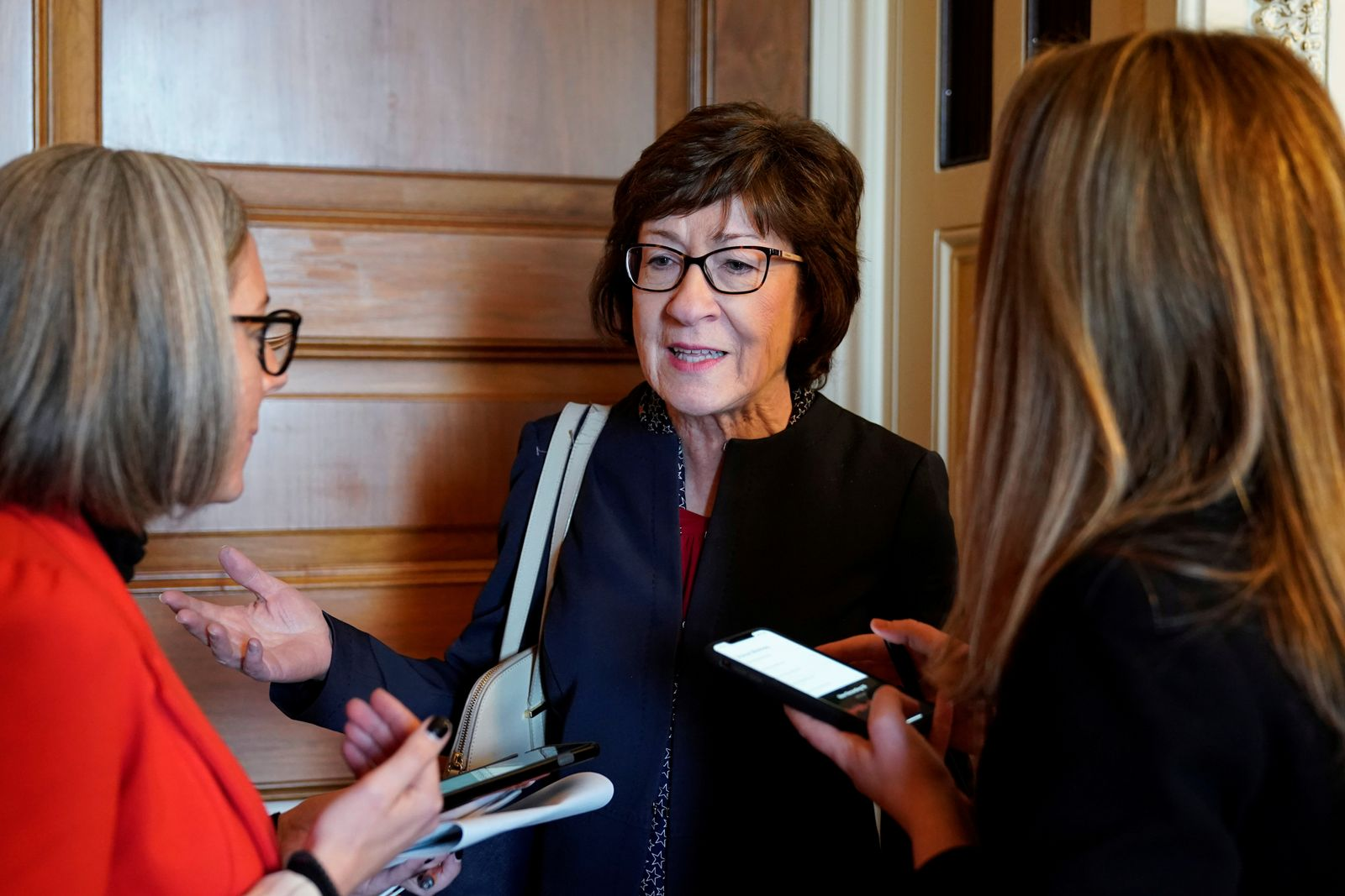 Senator Susan Collins speaks to reporters after the House of Representatives named managers for the Senate impeachment trial of U.S. President Donald Trump at the U.S. Capitol in Washington