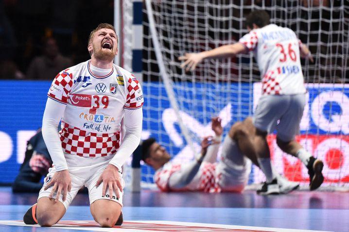 Freude ist gar kein Ausdruck: Kroatiens David Mandic feiert den Finaleinzug seines Teams gegen Norwegen