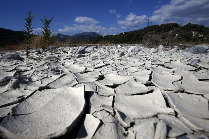 Ausgetrocknetes Flussbett der Var in Carros in Südfrankreich am 7. September 2016