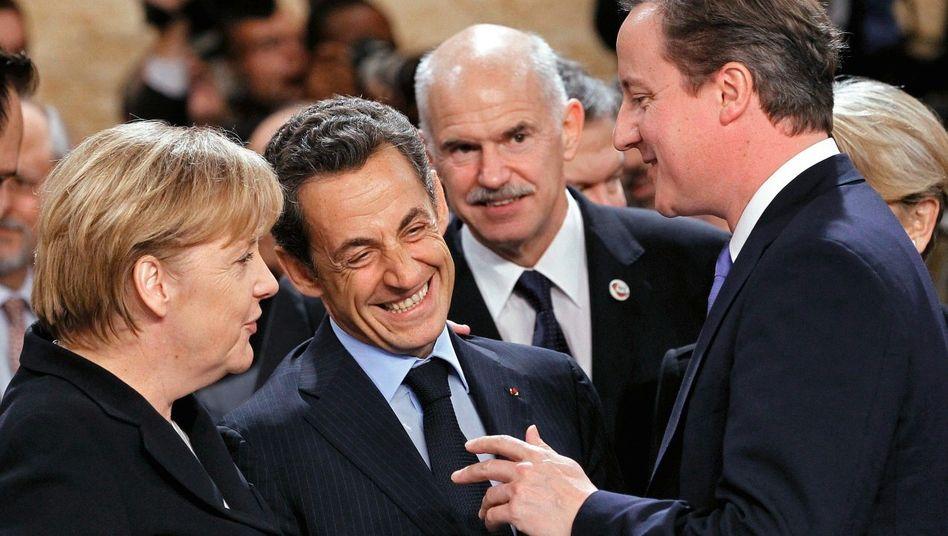 Europapolitiker Merkel, Sarkozy, Georgios Papandreou, David Cameron