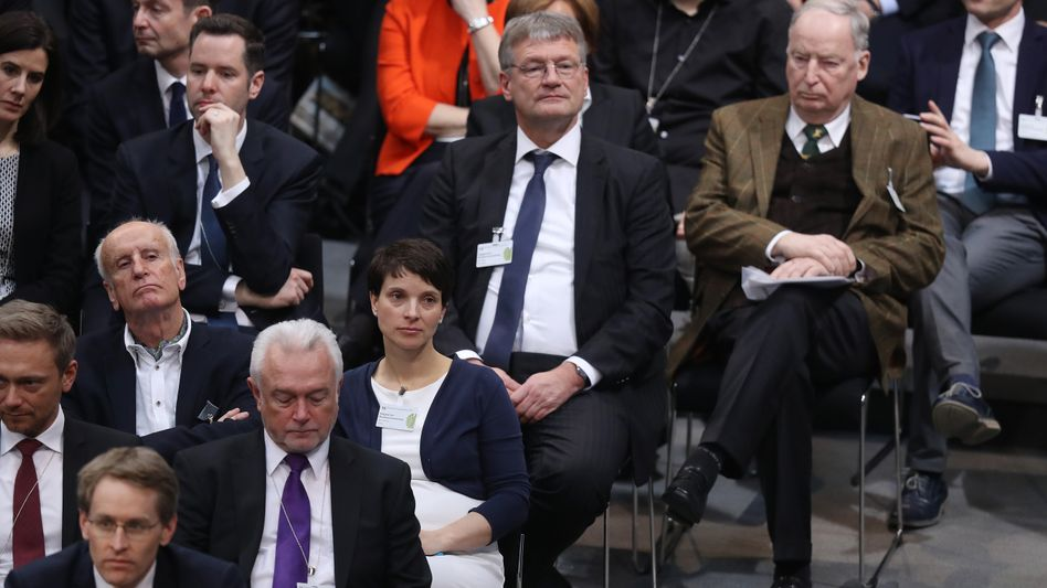 AfD-Politiker Petry, Meuthen, Gauland in der Bundesversammlung