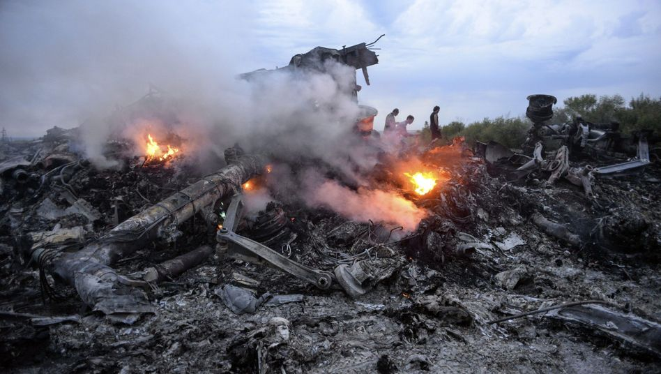 "Burning debris at the crash site of Malaysian Airllines Flight MH17 in eastern Ukraine on July 17: ""It was pro-Russian separatists,"" the head of Germany's foreign intelligence agency, the BND, has told parliament of the crash cause."