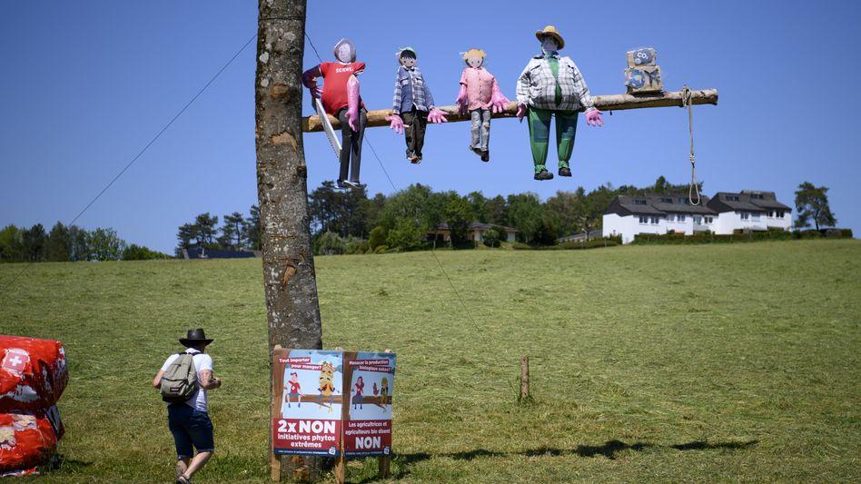 Sägen die Pestizid-Bekämpfer wirklich an dem Ast, auf dem das Agrarland Schweiz sitzt? Aktion von Gegnern der Initiative, die dazu aufriefen, am Sonntag »zweimal Nein« zu stimmen.
