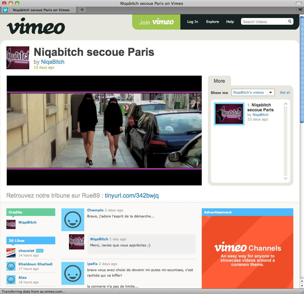 EINMALIGE VERWENDUNG Screenshot Vimeo Niqabitch