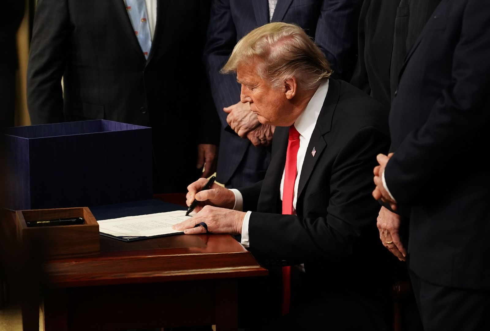 """US President Trump participates in a signing ceremony for H.R. 2, the """"Agriculture Improvement Act of 2018"""""""