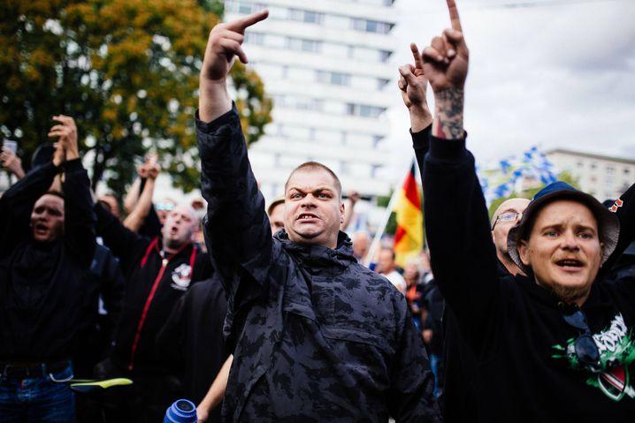 Aufmarsch von Rechten in Chemnitz