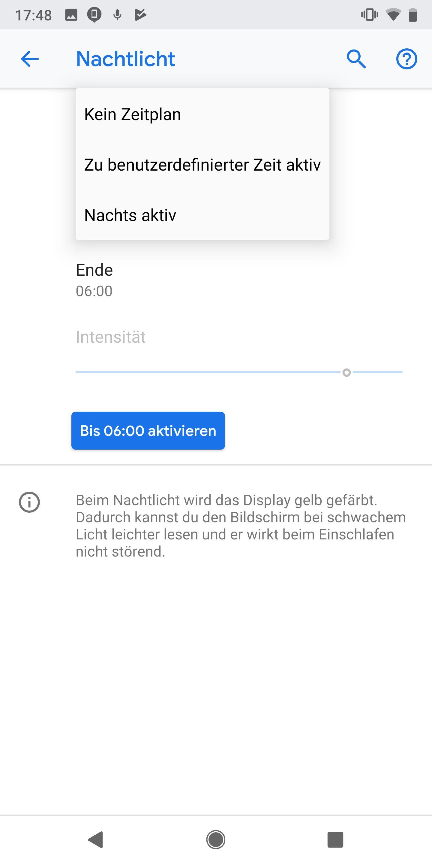 NUR ALS ZITAT Screenshot Android-Tipps/ Nachtlicht