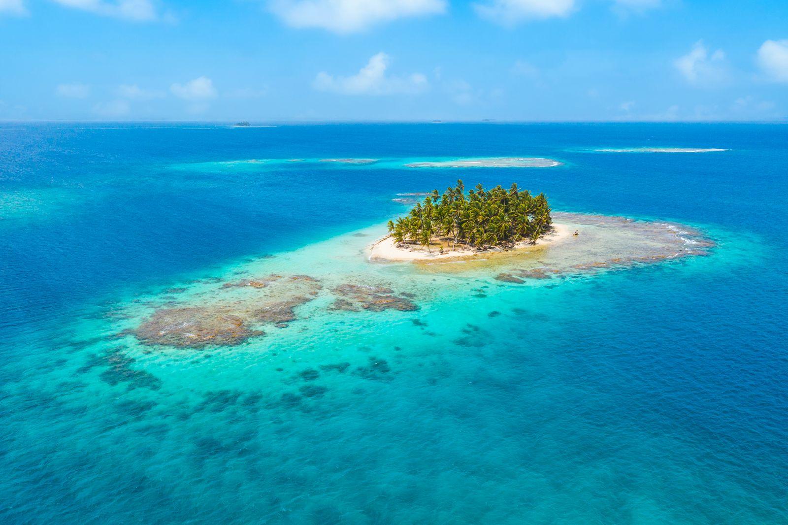 Aerial view of a tropical island, San Blas, Panama.