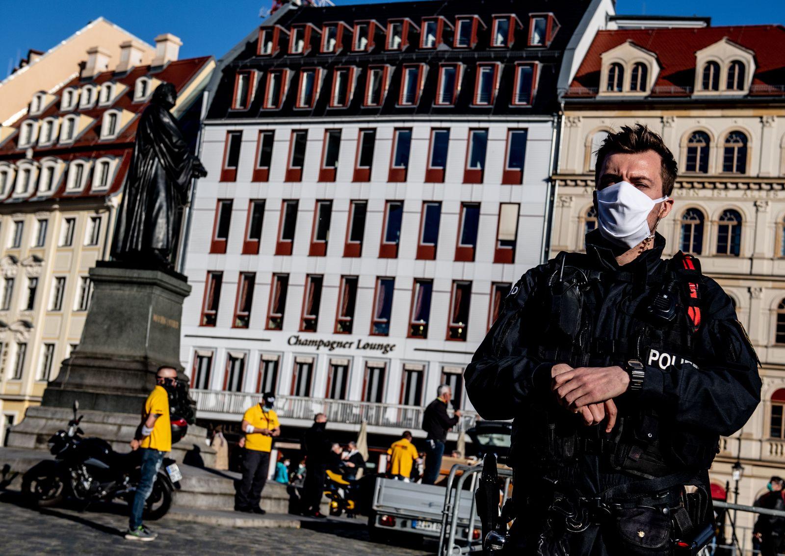 Protest of far-right, anti-Islam PEGIDA movement in Dresden, Germany - 20 Apr 2020