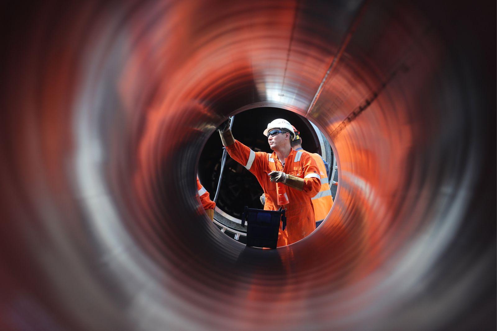 Bau an der Nord Stream 2 Pipeline in in der region um Leningrad
