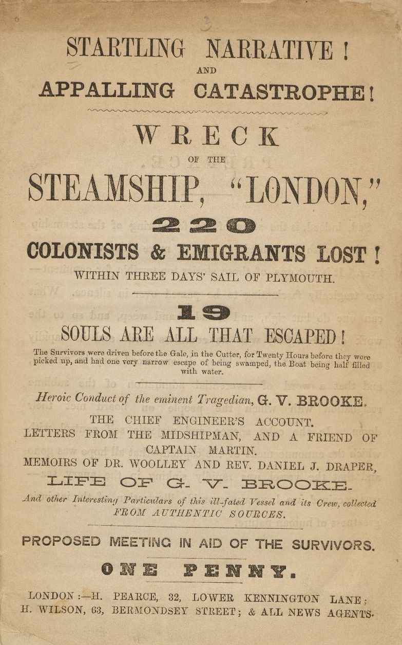 wreck of the steamship London, 1866