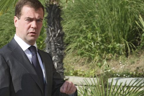 Russia's new president, Dmitry Medvedev, after a meeting with Angela Merkel on Friday.