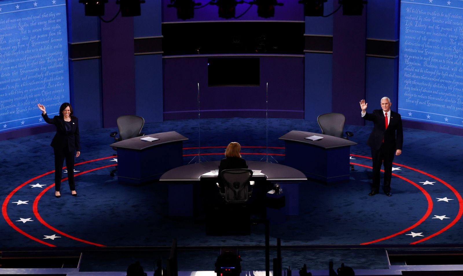 Democratic vice presidential nominee Senator Kamala Harris and U.S. Vice President Mike Pence participate in their 2020 vice presidential campaign debate in Salt Lake City