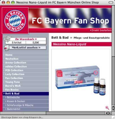 Neosino-Produkte im Bayern-Shop: Enge Bande zum Hersteller