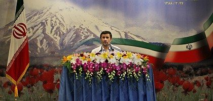 Iranian President Mahmoud Ahmadinejad speaking at a press conference in Tehran on Sunday.