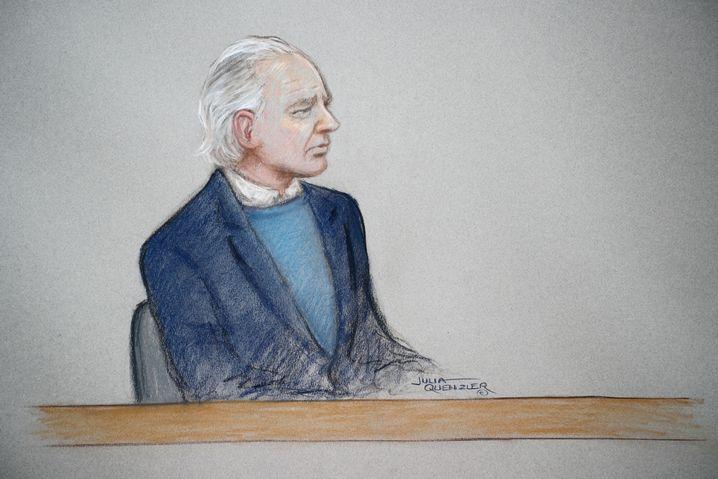Gerichtszeichnung von Assange bei Anhörung in London