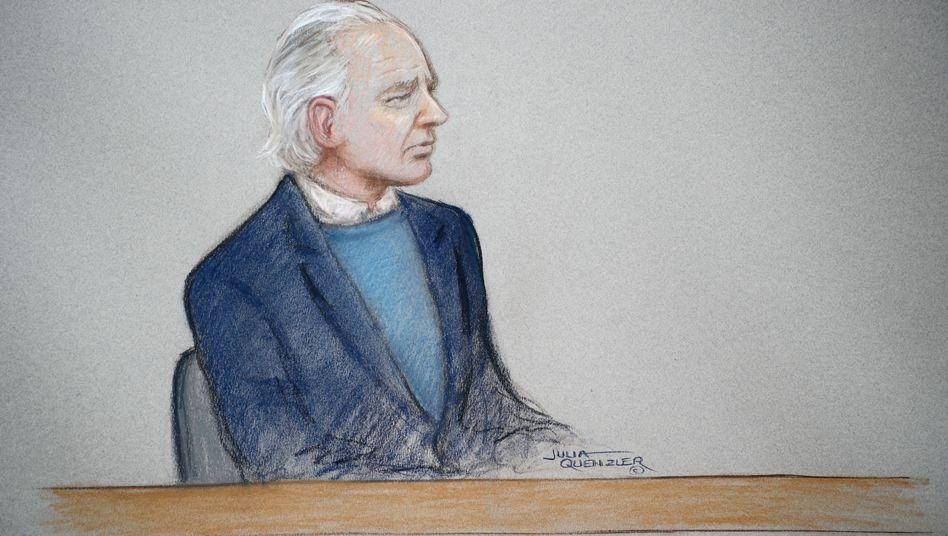 Julian Assange: Eine Zeichnung zeigt den WikiLeaks-Gründer am Montag vor Gericht