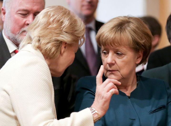 Angela Merkel und Erika Steinbach beim Jahresempfang des Vertriebenenbundes im April 2016