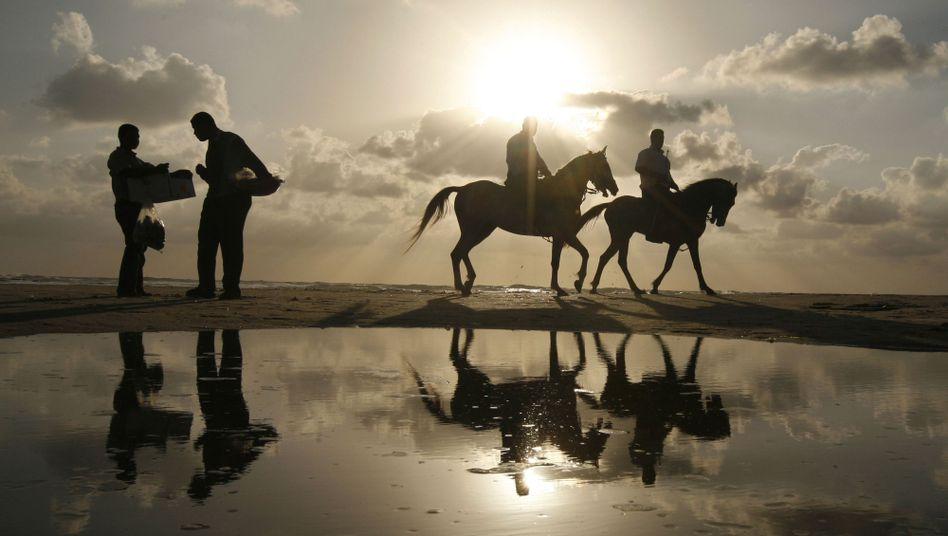 Sonnenuntergang (am Strand von Gaza, Mai 2010): Ungewöhnliche Wärme