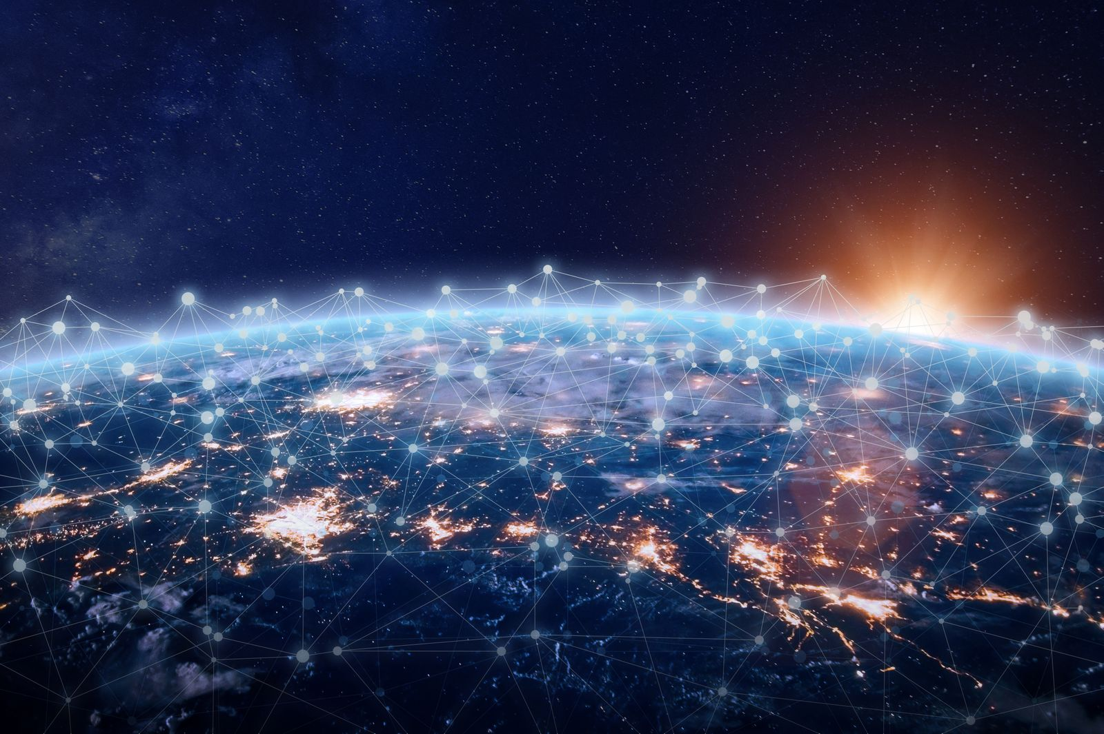 Global world telecommunication network connected around planet Earth, internet technology