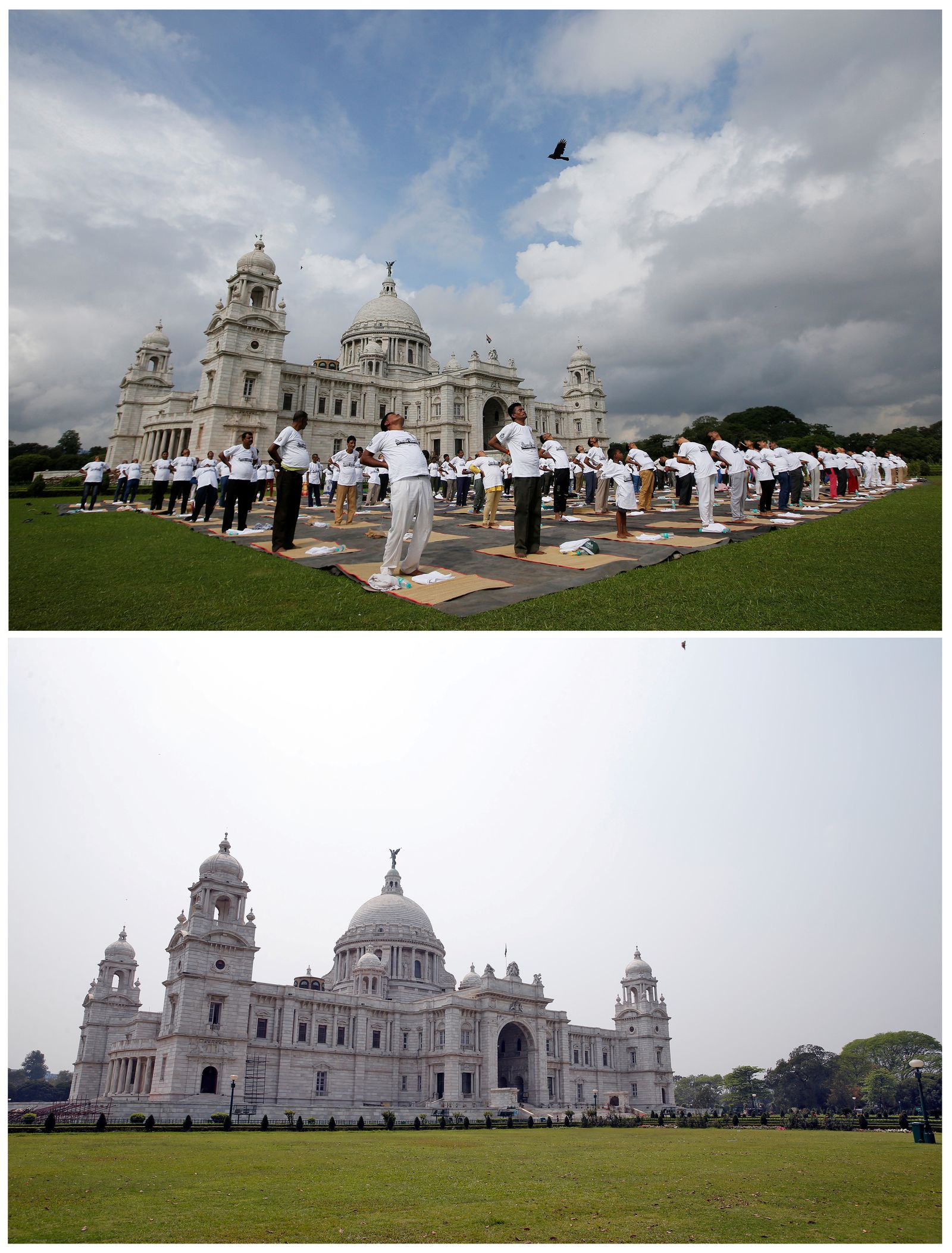 A combination picture shows the historic Victoria Memorial monument