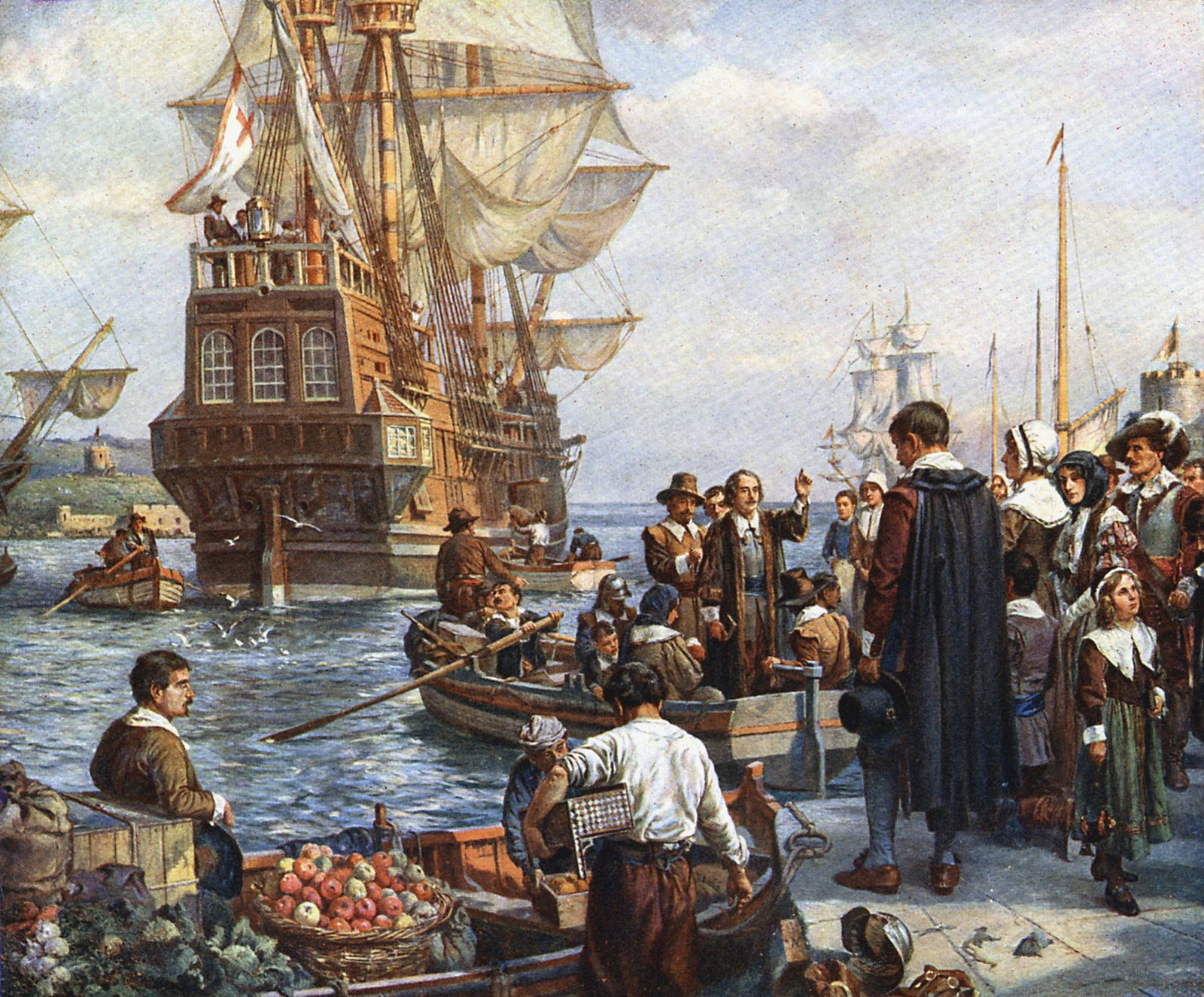 The Pilgrim Fathers boarding the Mayflower for their voyage to America After painting by Bernard Gr