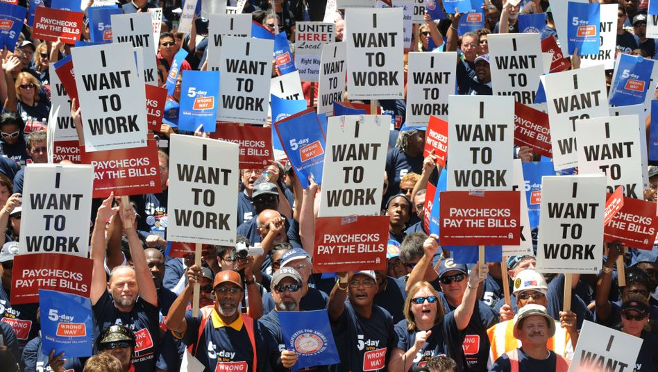 A jobs protest in Los Angeles: America needs to become more American again.