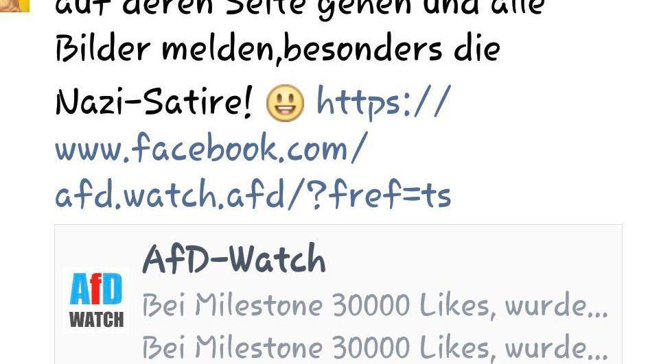 """Screenshot: Aufruf zum Melden der Seite """"AfD Watch"""""""
