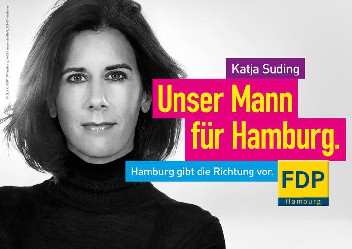 """""""Unser Mann für Hamburg"""": FDP-Kandidatin Suding"""