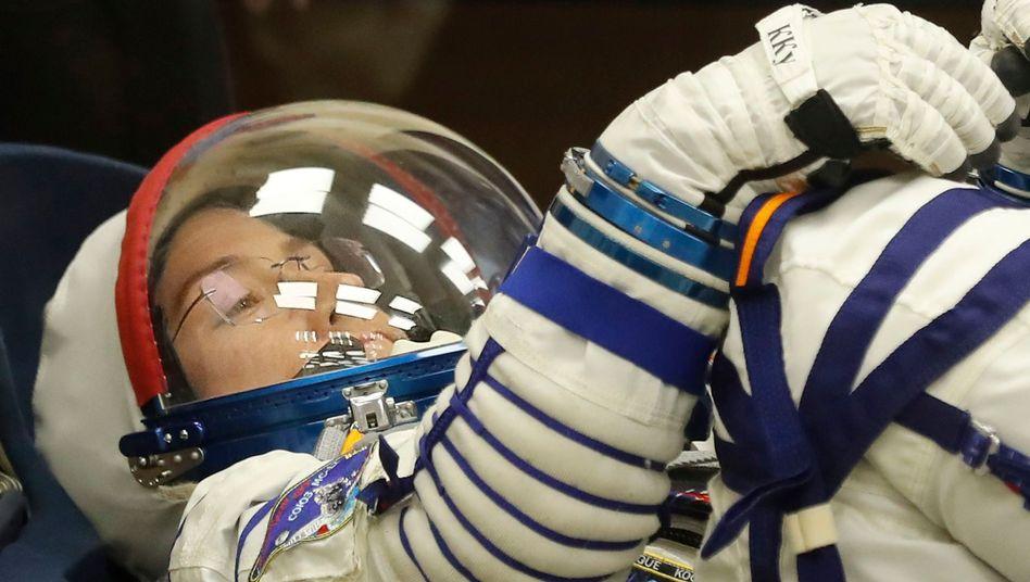 Christina Koch testet Mitte März in Kasachstan ihren Raumanzug