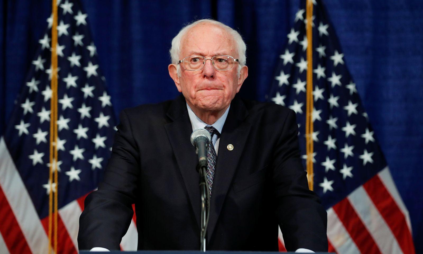 U.S. Democratic presidential candidate Senator Bernie Sanders speaks during news conference in Burlington, Vermont