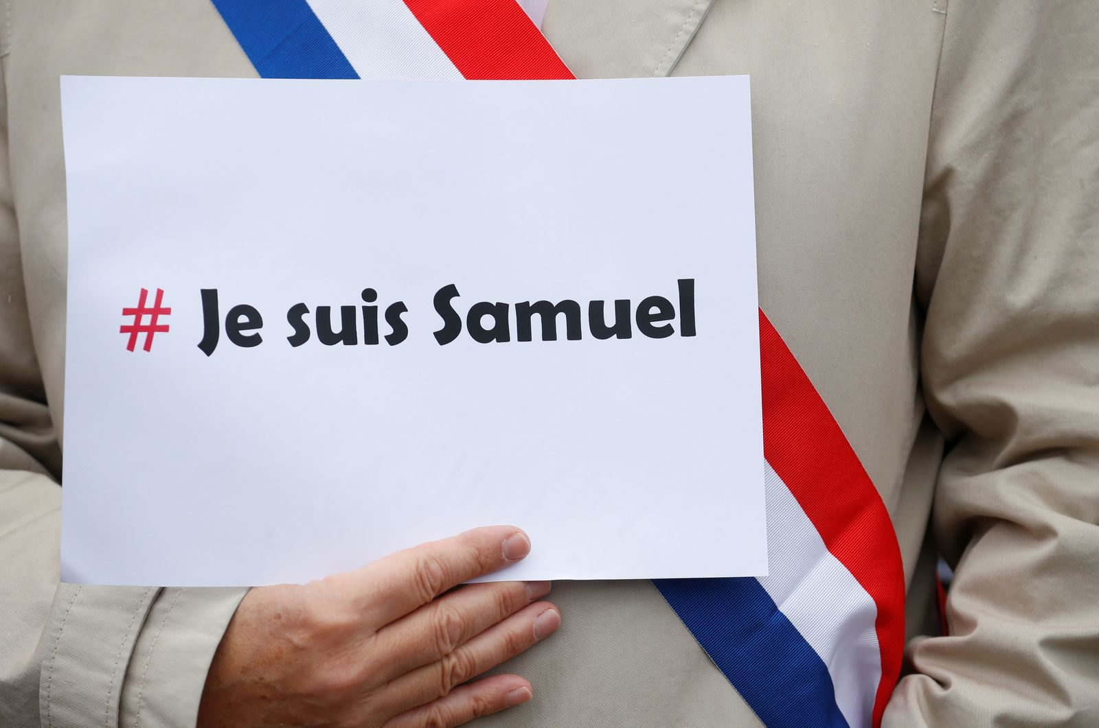 Tribute to Samuel Paty, the French teacher who was beheaded on the streets of the Paris suburb of Conflans St Honorine, in Lille