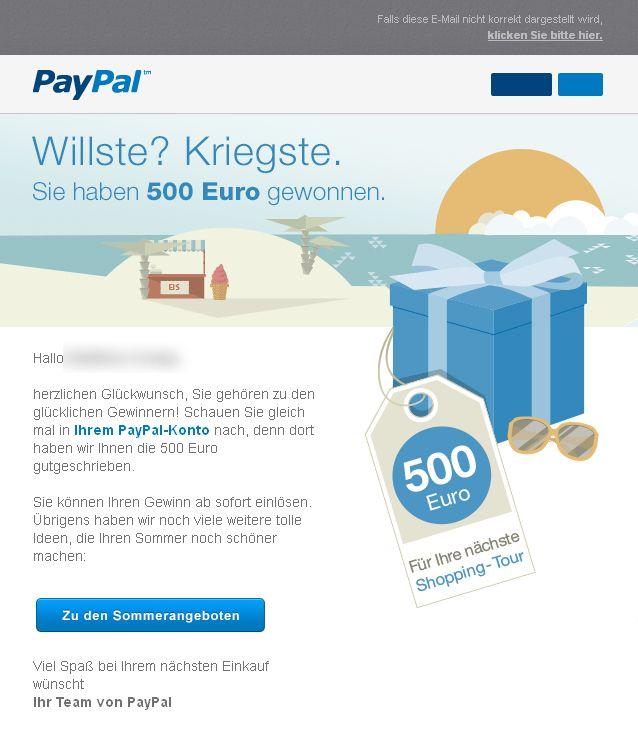 NUR ALS ZITAT Screenshot Paypal Gewinnbenachrichtigung