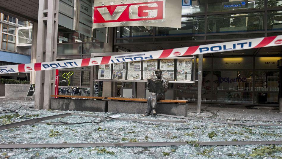 Skulptur des Zeitungslesers in Oslo: Ein Land unter Schock