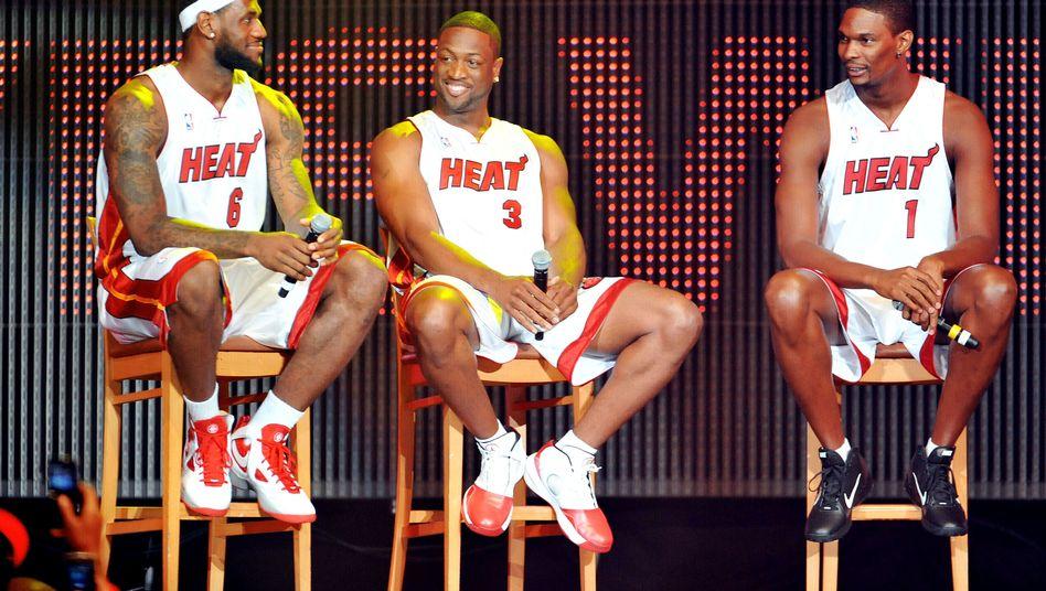 Miami-Profis James, Wade und Bosh (v.l.): Neues Superteam der Heat