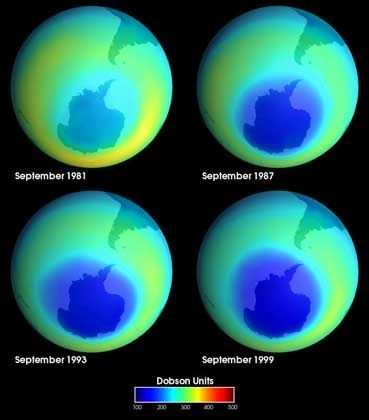 Ozonloch über der Antarktis von 1981 bis 1999: FCKW-Emissionen durchlöcherten Schutzschicht
