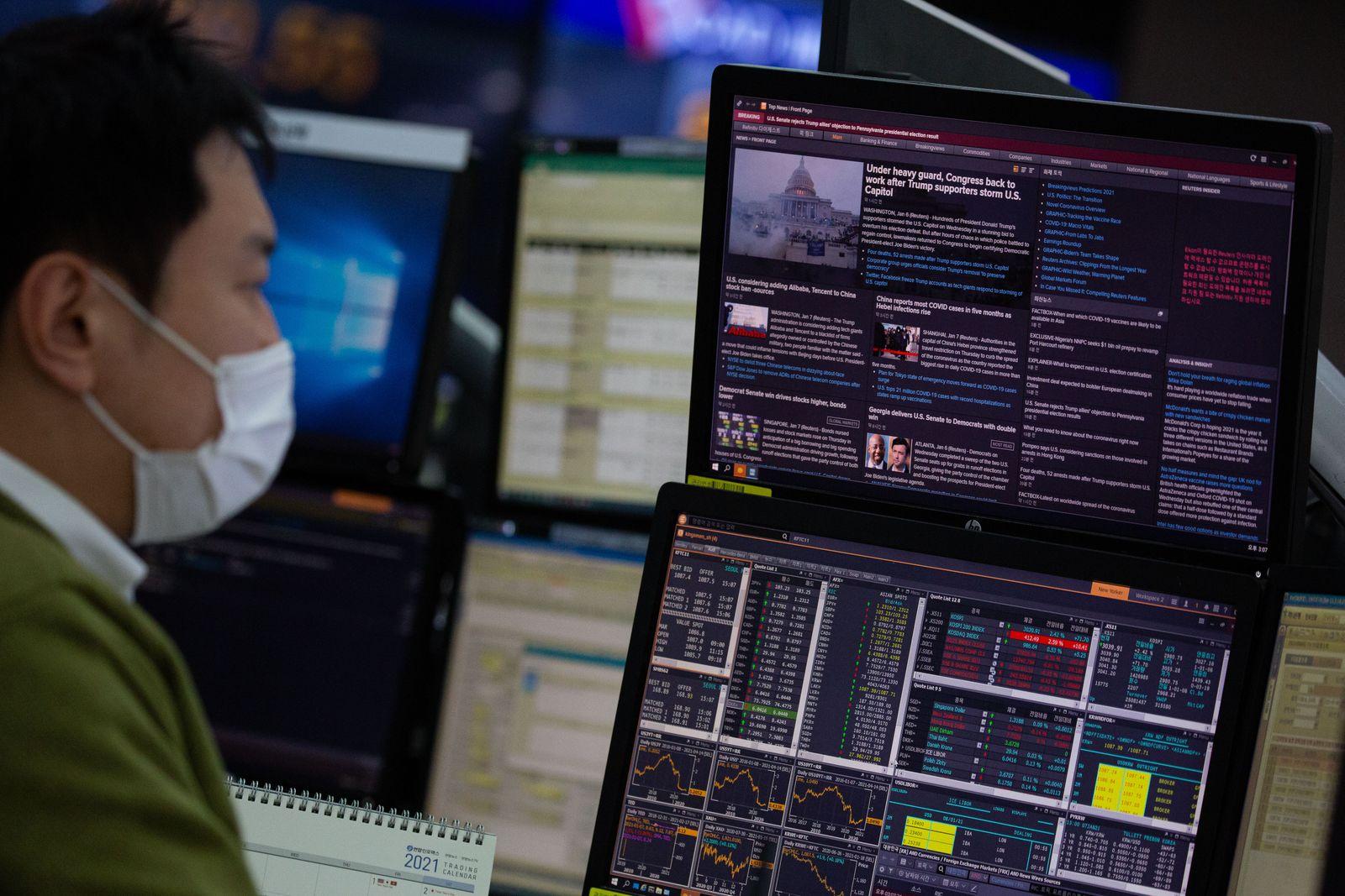 Stock market rose in South Korea, Seoul, Republic Of - 07 Jan 2021