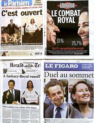 """""""Top Duel"""": Sarkozy and Royal both have their eyes set on Elysee Palace in two weeks."""