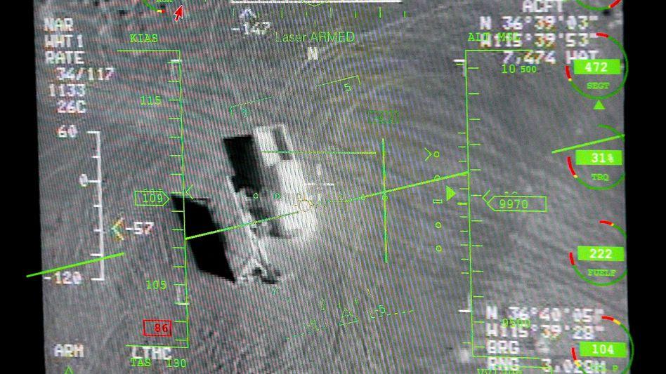 Luftaufnahme von einer US-Drohne vom Typ MQ-9 Reaper, die während einer Übung in Nevada gemacht wurde.