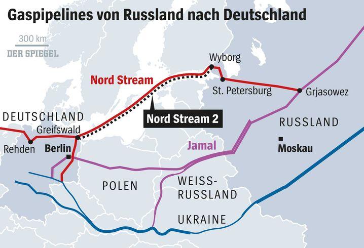 Nord Stream 2 und Anbindungspipelines