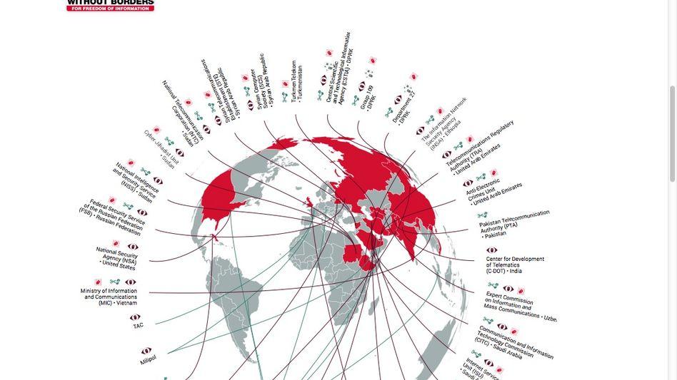 """Weltkarte zu den """"Feinden des Internets"""": NSA und GCHQ in der Kritik"""