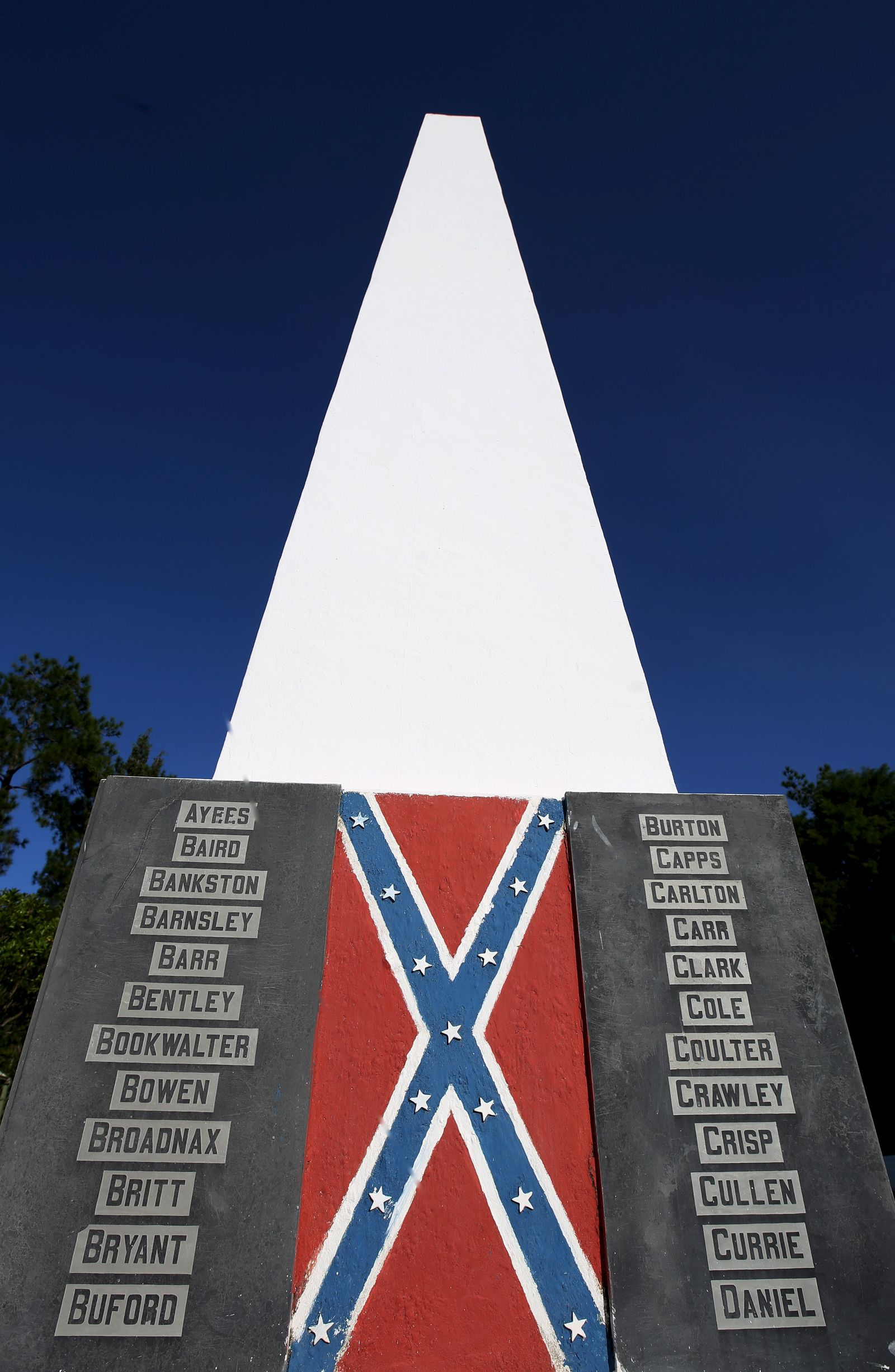 The names of the families of Descendants of American Southerners are displayed in a monument in Santa Barbara D'Oeste, Brazil