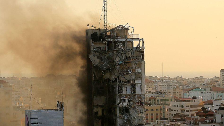 Al-Sharouk Tower in Gaza was bombed by the Israelis on Wednesday, home to numerous media companies.