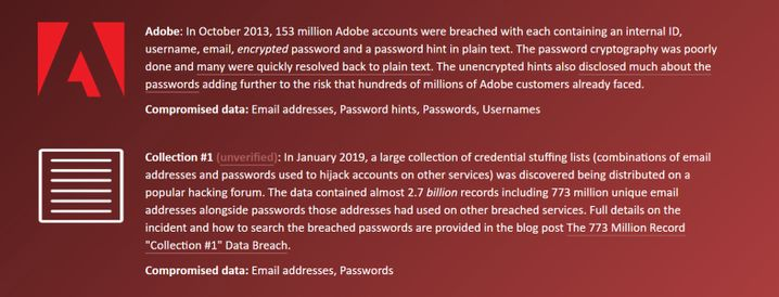 Auswertung zu einer E-Mail-Adresse