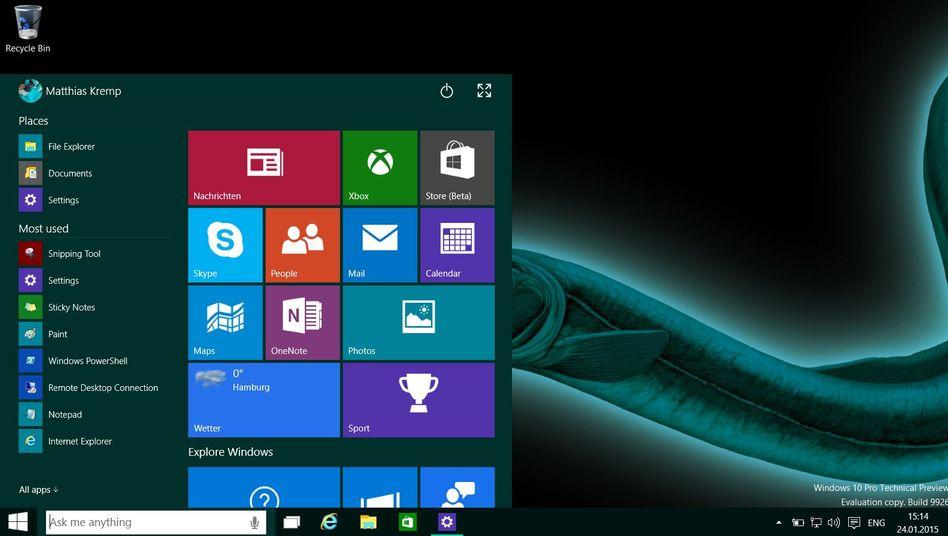 Startmenü von Windows 10: Ab dem 29. Juli können Nutzer umsteigen