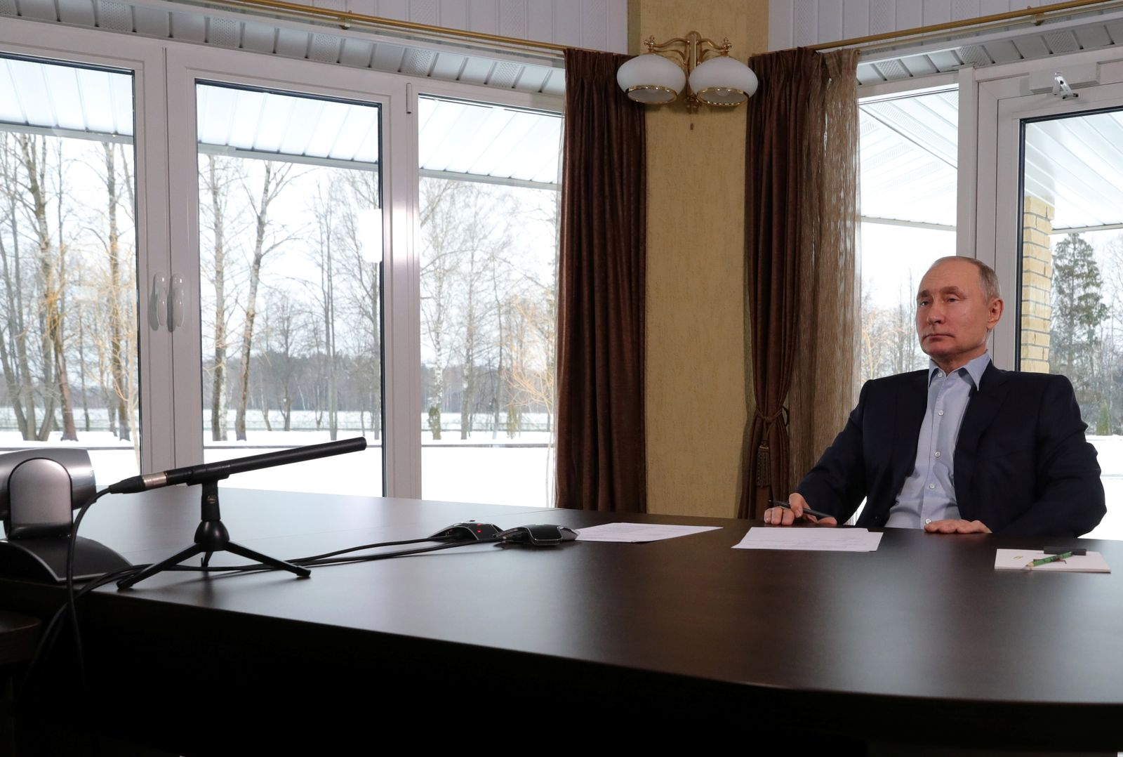 Russian President Putin attends a meeting with university students via a video conference call in Zavidovo